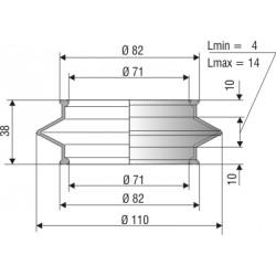 1169 NBR Soufflet D 71mm Long 4 à 14mm