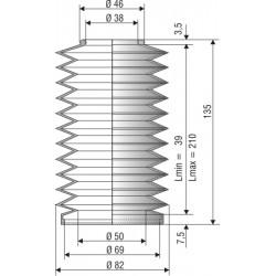 1176NBR Soufflet D 38 et 69mm Long 39 à 210mm
