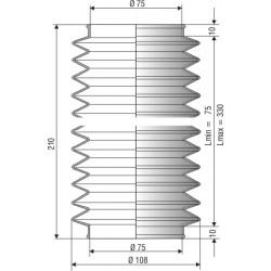 1179 NBR Soufflet D 75mm Long 75 à 330mm