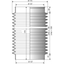 1181 NBR Soufflet D 137mm Long 80 à 550mm