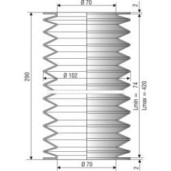 1186 NBR Soufflet D70mm Long 74 à 420 mm