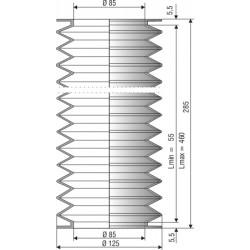 1201 NBR Soufflet D 85mm Long 55 à 460mm
