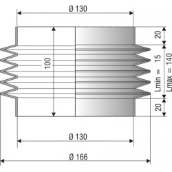 1203 NBR Soufflet D 130mm Long 15 à 140 mm