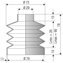 1232 NBR Soufflet D 29 et 70mm Long 20 à 60mm