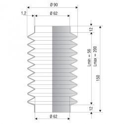 1244 NBR Soufflet D 62mm Long 56 à 200 mm
