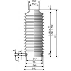 1516 NBR Soufflet D 30mm et 52mm Long 56 mm à 162mm