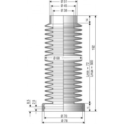 1522 NBR Soufflet D 38mm et 70mm Long 72 à 500mm