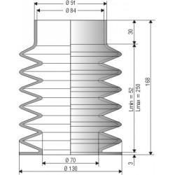 1528 NBR Soufflet D 70mm et 84mm Long 52 à 250mm