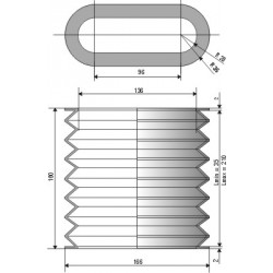 1529 NBR Soufflet oval D 136mm et 166mm Long 35 à 210 mm