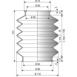 2003 NBR Soufflet D 60mm et 80mm Long 25 à 160 mm