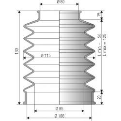 2008 NBR Soufflet D 80mm et 85mm Long 30 à 125 mm
