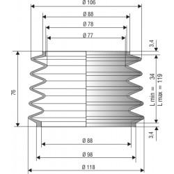 2012 NBR Soufflet D 77mm et 88mm Long 34 à 119 mm
