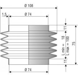 2067 NBR Soufflet D 74mm Long 18 à 100mm