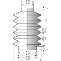 2077 NBR Soufflet D 40 et 60 Long 22 à 165mm