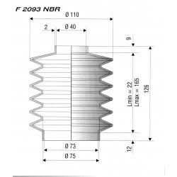 2093 NBR Soufflet D 40mm et 73mm Long 22 à 165mm