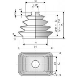 2106 SI Soufflet silicone diamètre 22 et 70 mm basse rectangle Long 50 à 150mm