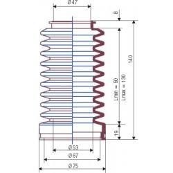 3046 NBR Soufflet D 47mm et 67mm Long 50 à 130mm