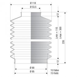 1252 NBR Soufflet D 53.5mm et 90mm Long 110 à 300 mm