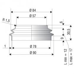 2005 NBR Soufflet D 57 et 78 mm Long 12 à 17 mm