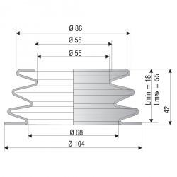 2078 SI Soufflet D 55 et 68 mm Long 18mm à 55 mm