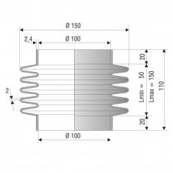 2224 EPDM Soufflet D 100mm Long 50 à 150 mm