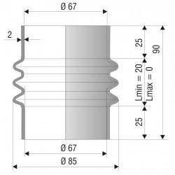 4005 NBR Soufflet D 67mm Long 20 à 0 mm