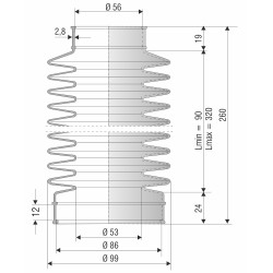 4010 NBR Soufflet D 56 et 86 mm Long 90 à 320 mm