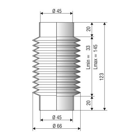 Soufflet D 45mm Lmin 33 Lmax 145 Réf 1202 NBR