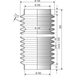 Soufflet D100mm Lmin 40mm Lmax 250mm Réf 1218 NBR