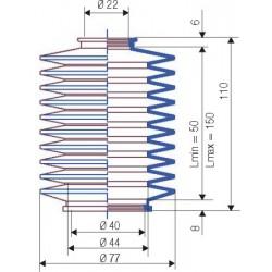 3005 NBR Soufflet D 22mm et D 40 mm NBR L.min 50 Lmax 150