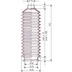 3036 NBR Souffllet D 14mm et D 40 en NBR L.min70 L.max 200