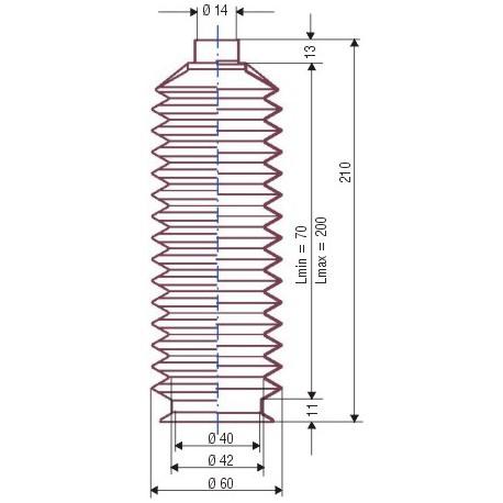 3036 NBR Soufflet D 14mm et D 40 Lmin70 Lmax 200