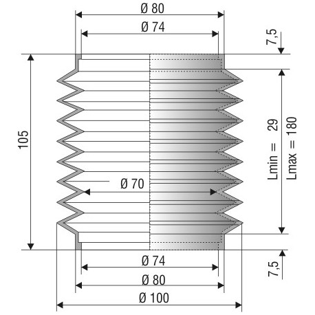 Soufflet D 74mm Lmin 29mm Lmax 180mm Réf 1109 NBR