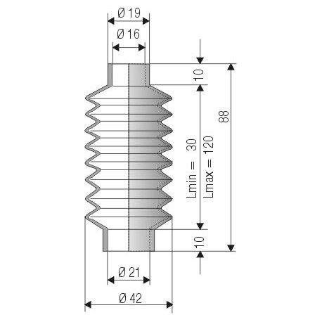 1052 NBR Soufflet D16mm et D 21mm NBR L.min 30mm L.max 120mm