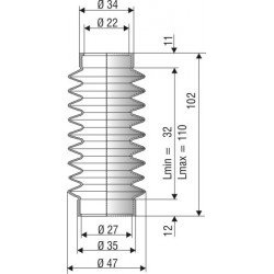 Soufflet D 22 mm et D 27 mm L.min 32 L.max 110 Réf 1006 NBR