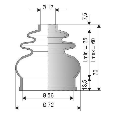 Soufflet D 12mm et D 56mm Lmin 25 mm Lmax 60 mm Réf 1039 NBR