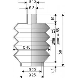 1133 NBR Soufflet D 8mm et D 20mm NBR Lmin 25mm Lmax 56mm