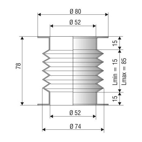 Soufflet D 52mm Lmin 15 Lmax 85 Réf 1191 NBR