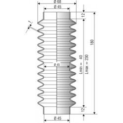 Soufflet D 45mm en NBR L.min 40 mm L.max 230 mm Réf 1223 NBR