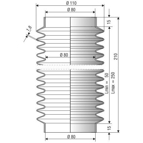 1224 NBR Soufflet D 80mm en NBR L.min 50 mm L.max 250 mm
