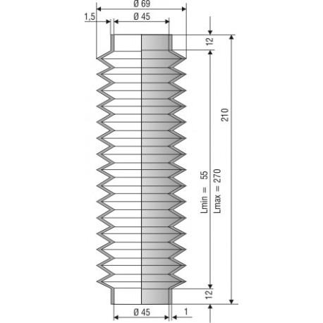Soufflet D 45mm en NBR L.min 55 mm L.max 270 mm Réf 1229 NBR