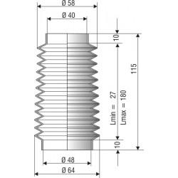1157 NBR Soufflet D 40mm et D 48mm en NBR L.min 27 mm L.max 180mm