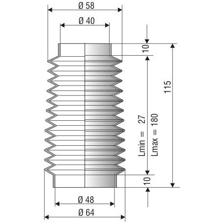 Soufflet D 40mm et D 48mm Lmin 27 mm Lmax 180mm Réf 1157 NBR
