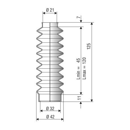 Soufflet D 21 mm et D 32 mm L.min 45 L.max 120 Réf 1013 NBR