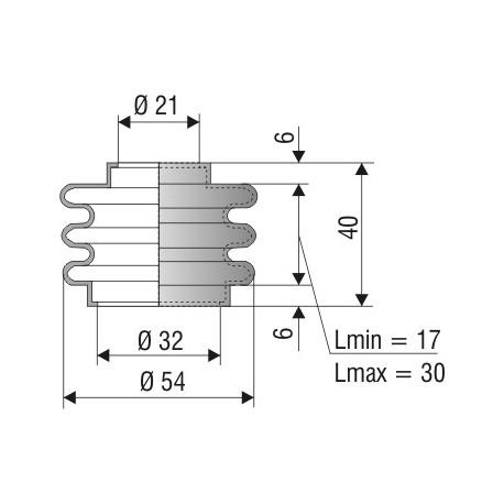 Soufflet D 21mm et D 32 mm L.min 17 L.max 30 Réf 1053 NBR