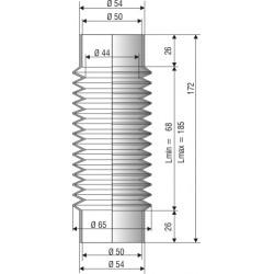 1112 NBR Soufflet D 50mm en NBR L. min 68 L. max 185