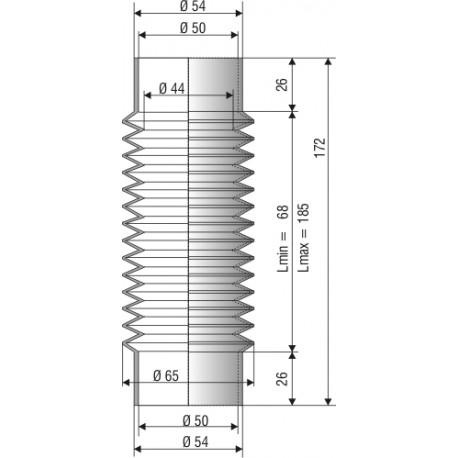 Soufflet D 50mm en NBR L. min 68 L. max 185 Réf 1112 NBR