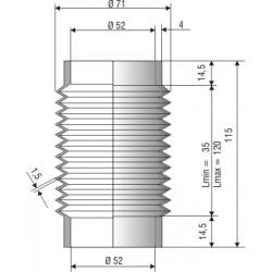 Soufflet D 52mm Lmin 32 Lmax 125 Ref 2015 NBR