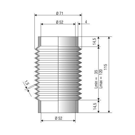 2015 NBR Soufflet D 52mm Long 32 à 125 mm